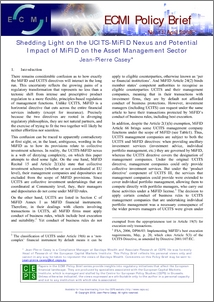 Shedding Light on the UCITS-MiFID Nexus and Potential Impact