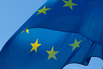 Photograph of the European Union Flag waving in the air